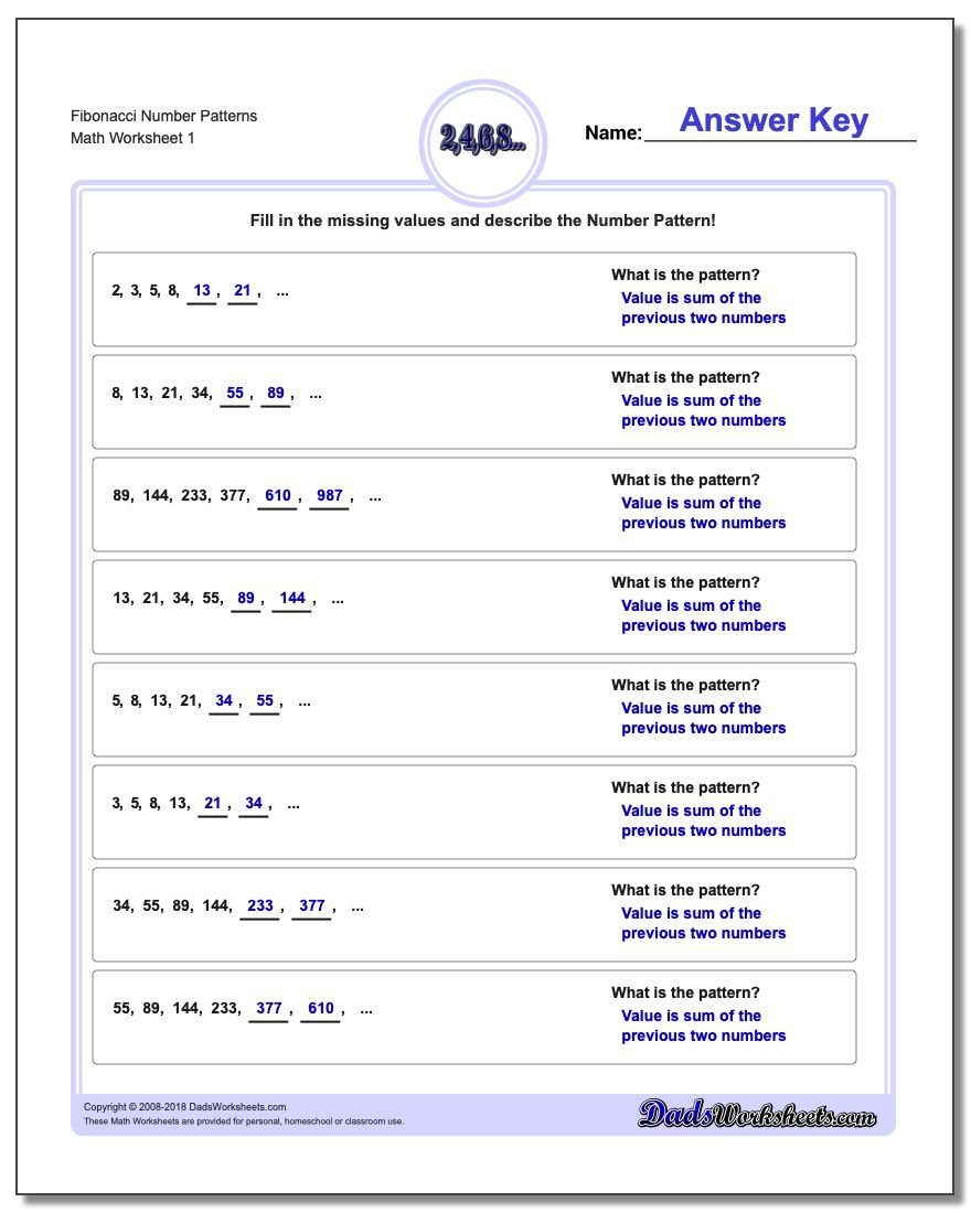 Worksheet Fourth Grade Fraction Word Problems patterns fibonacci and like number pattern problems where the next values in a sequence are dependent on prior values