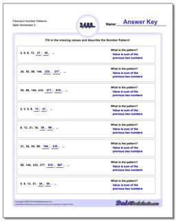 Fibonacci Number Patterns www.dadsworksheets.com/worksheets/number-patterns.html Worksheet