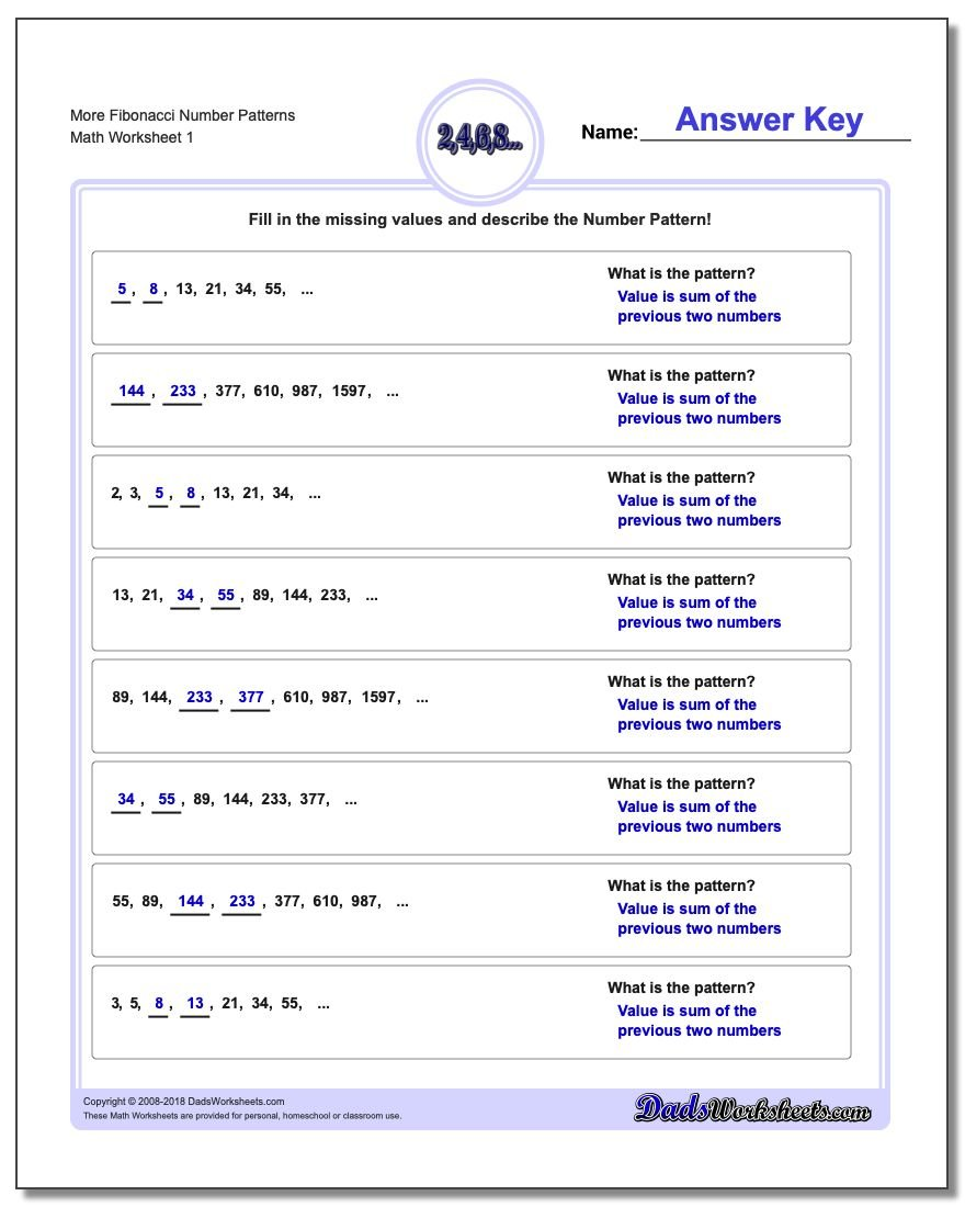 Number Patterns More Fibonacci Worksheet