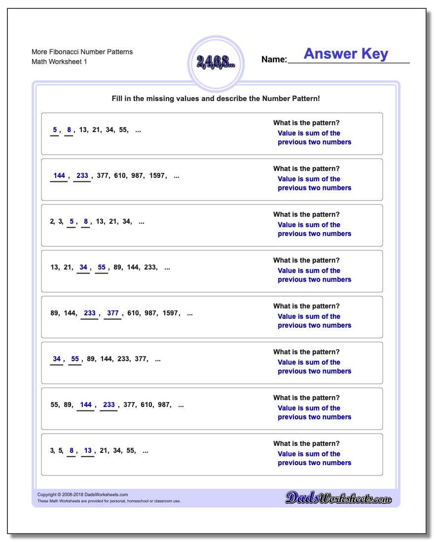Fibonacci Worksheet - Templates and Worksheets