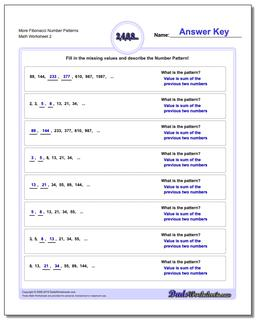 More Fibonacci Number Patterns www.dadsworksheets.com/worksheets/number-patterns.html Worksheet