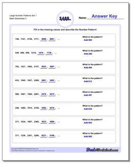 Large Number Patterns Set 1 Worksheet