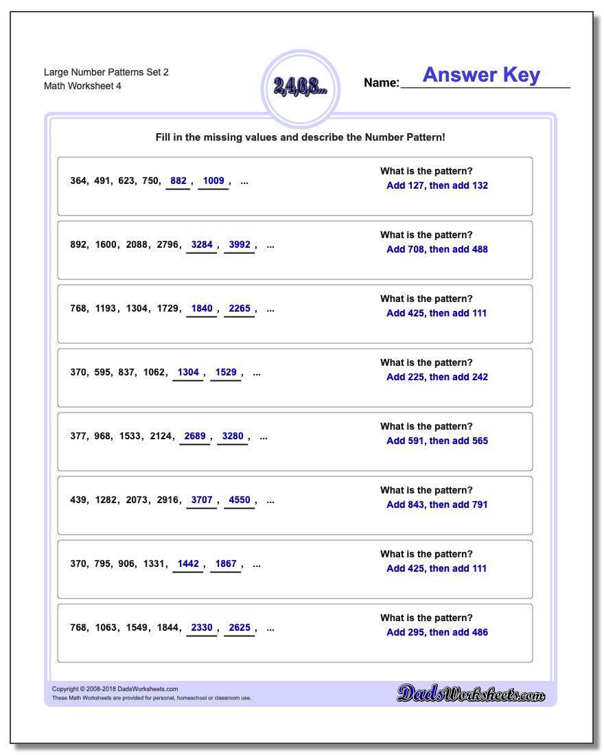 Large Number Patterns Set 2 Worksheet