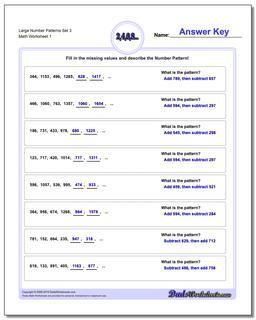 Number Patterns Large Set 3 Worksheet