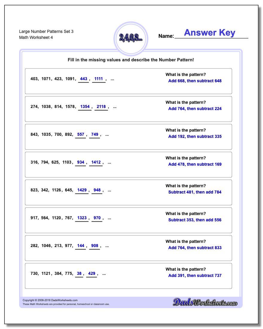 Large Number Patterns Set 3 Worksheet