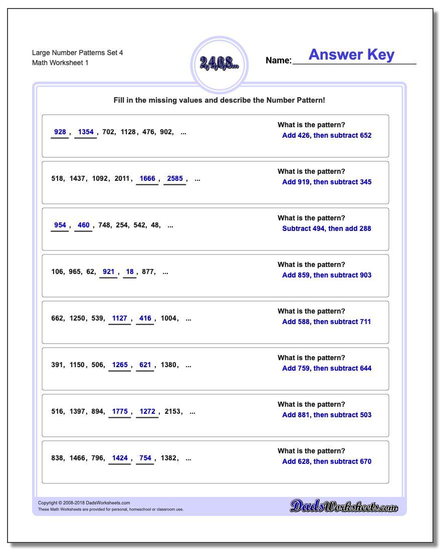 Number Patterns Large Set 4 Worksheet