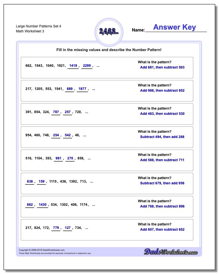 Large Number Patterns Set 4 Worksheet