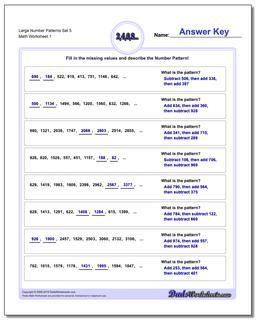 Number Patterns Large Set 5 Worksheet