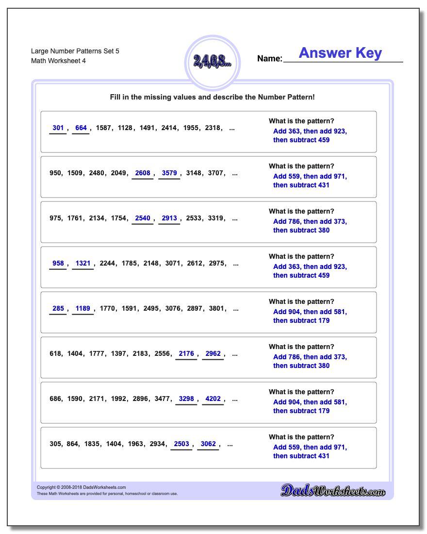 Large Number Patterns Set 5 Worksheet