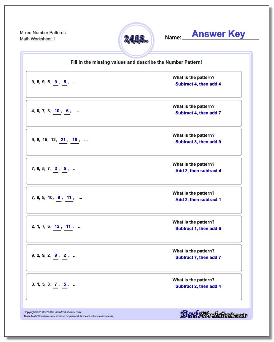 Number patterns 20 number patterns worksheets nvjuhfo Choice Image