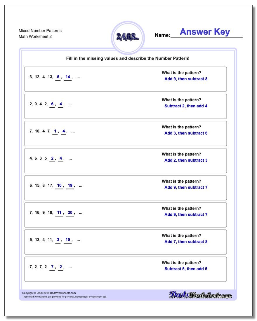 Mixed Number Patterns www.dadsworksheets.com/worksheets/number-patterns.html Worksheet