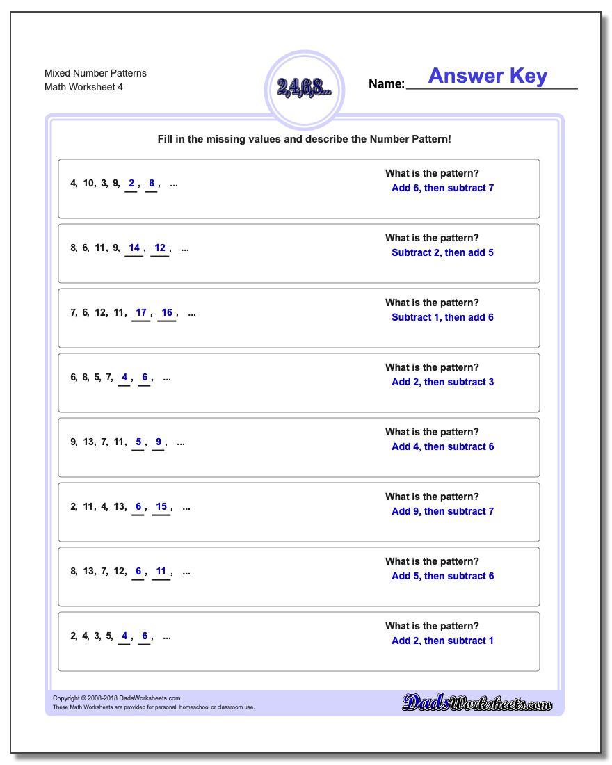 Mixed Number Patterns Worksheet