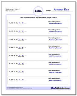 Number Patterns Mixed 2 Worksheet