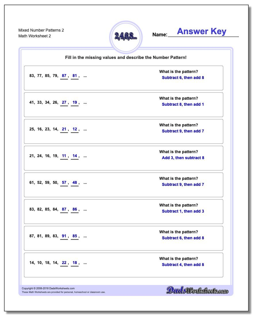 Mixed Number Patterns 2 www.dadsworksheets.com/worksheets/number-patterns.html Worksheet