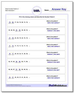 Number Patterns Mixed 3 Worksheet