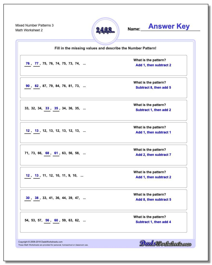 Mixed Number Patterns 3 www.dadsworksheets.com/worksheets/number-patterns.html Worksheet