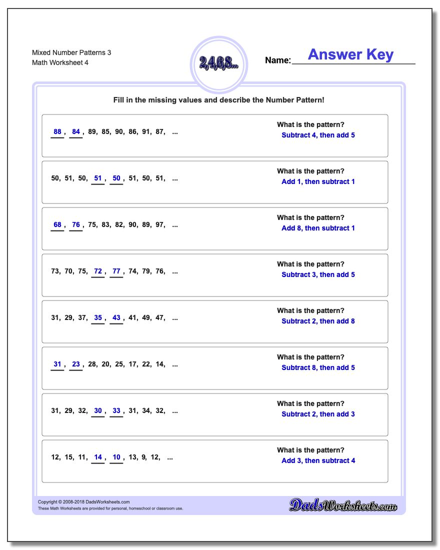 Mixed Number Patterns 3 Worksheet