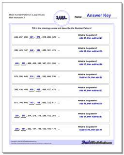 Number Patterns Mixed 5 (Large Values) Worksheet