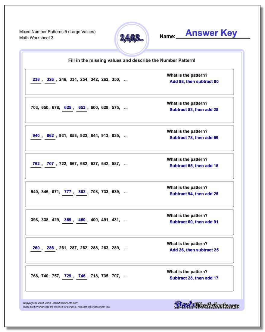 Mixed Number Patterns 5 (Large Values) Worksheet
