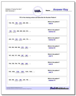 Multiples of Twenty-Five Set 7 Number Patterns Worksheet