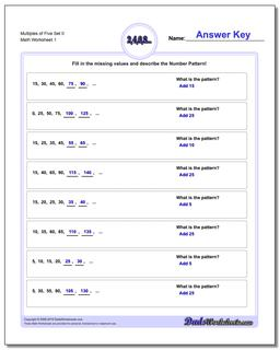 Number Patterns with Multiples of Five Worksheet