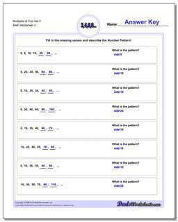 Multiples of Five Set 0 www.dadsworksheets.com/worksheets/number-patterns.html Worksheet