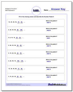 Multiples of Five Set 0 Worksheet