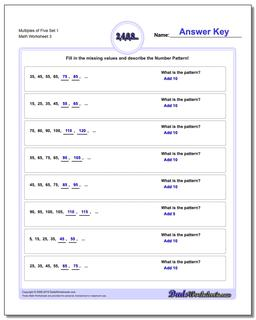 Multiples of Five Set 1 Worksheet