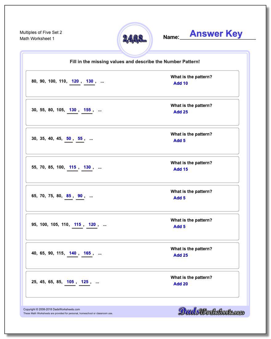Multiples of Five Set 2 Number Patterns Worksheet