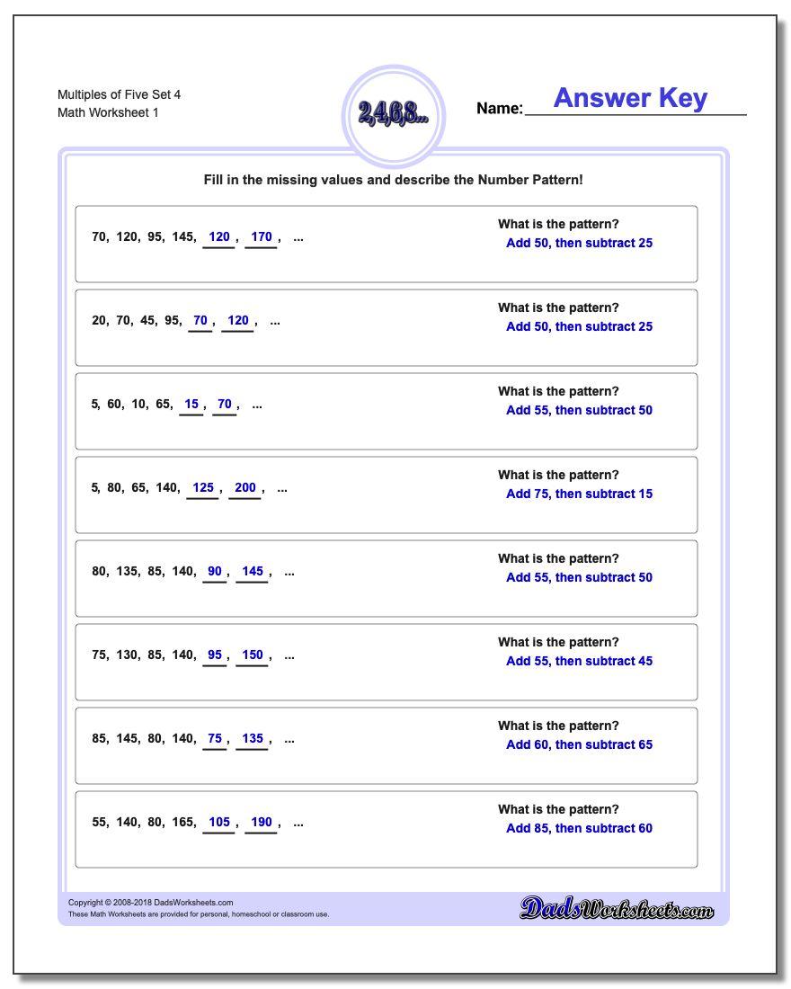 Multiples of Five Set 4 Number Patterns Worksheet