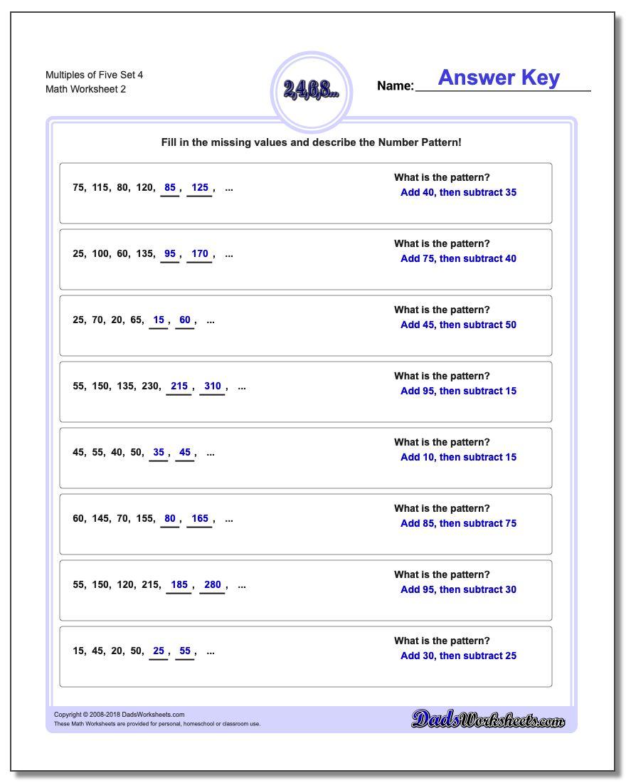 Multiples of Five Set 4 www.dadsworksheets.com/worksheets/number-patterns.html Worksheet