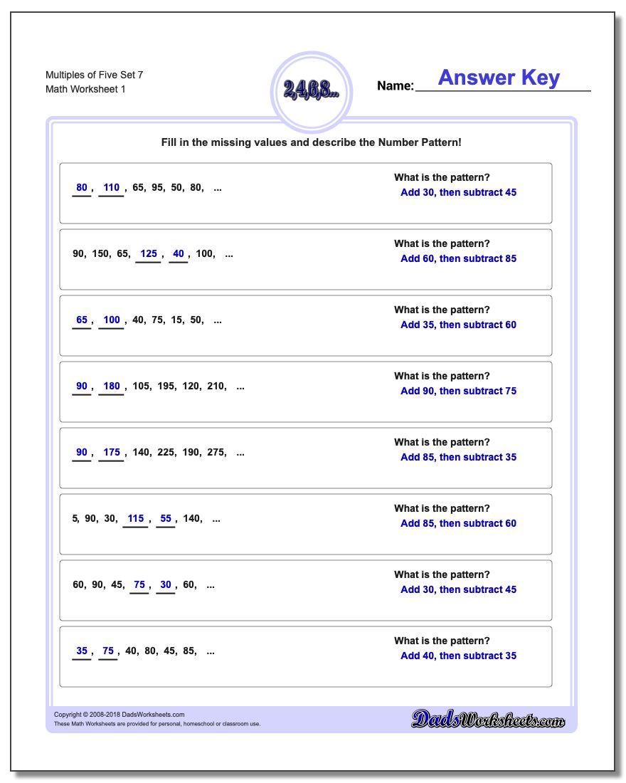 Multiples of Five Set 7 Number Patterns Worksheet
