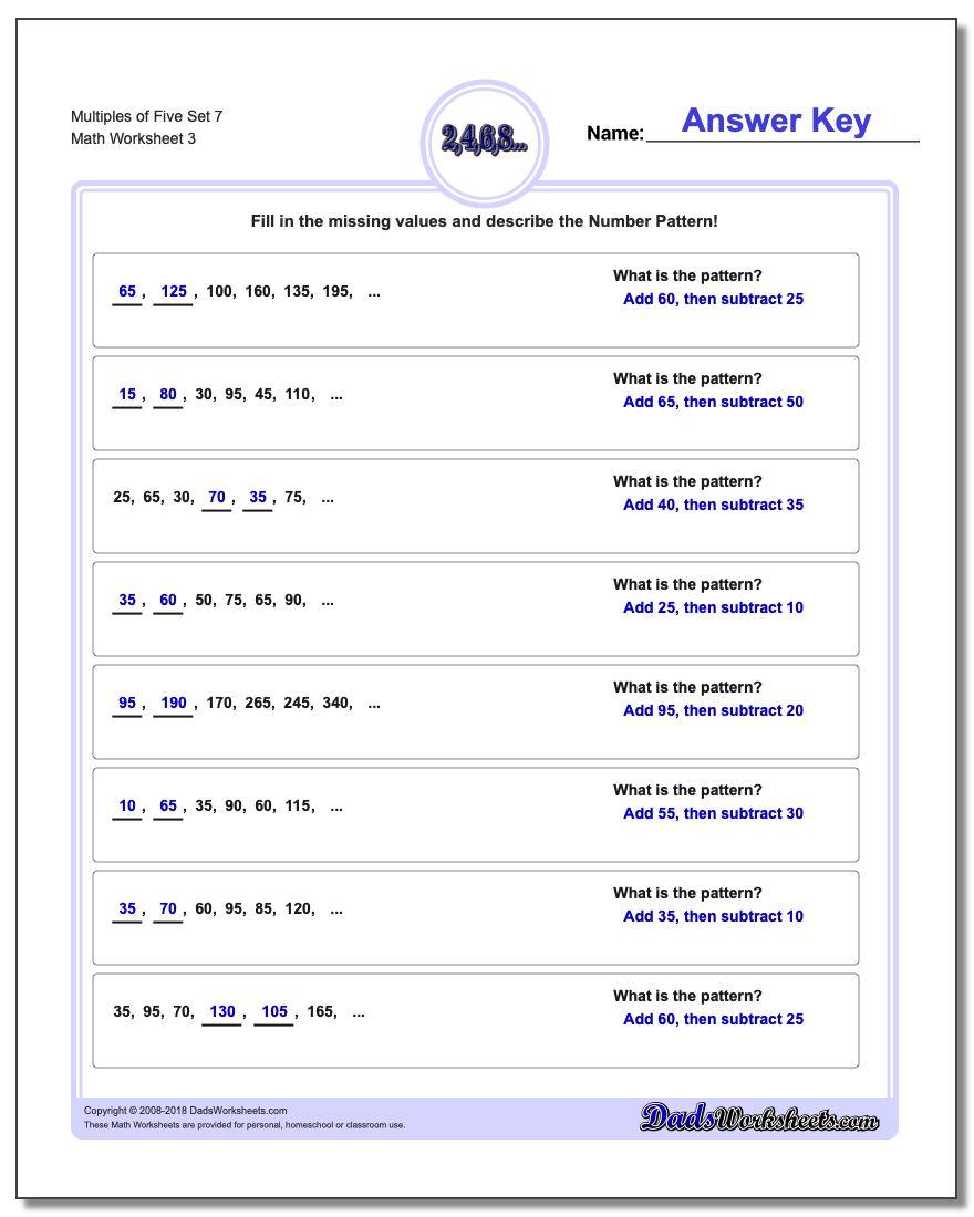 Multiples of Five Set 7 Worksheet