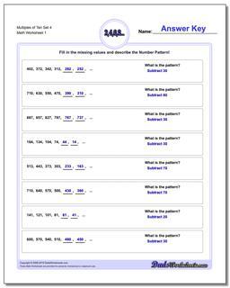 Multiples of Ten Set 4 Number Patterns Worksheet