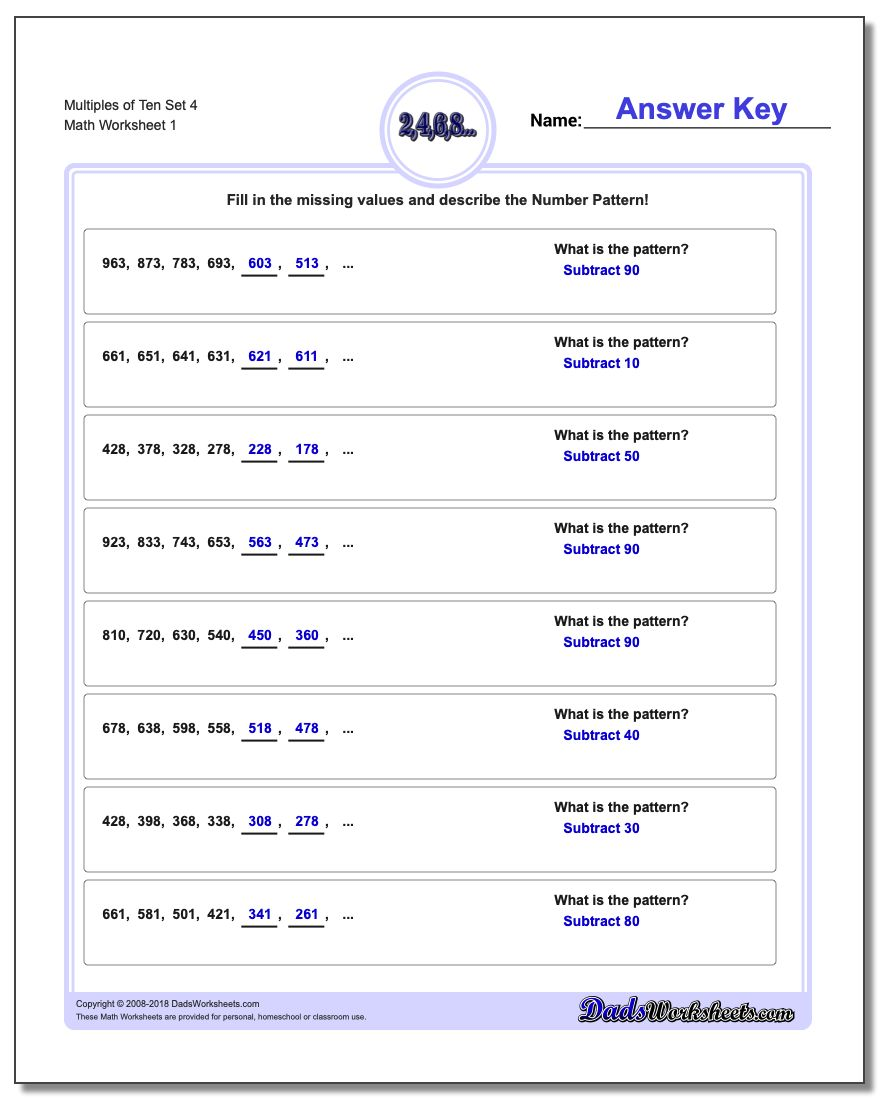 math worksheet : patterns with multiples of ten : Multiplication Patterns Worksheets