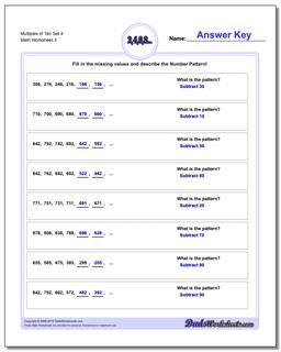 Multiples of Ten Set 4 Worksheet #Number #Patterns #Worksheet
