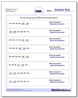 Multiples of Ten Set 7 Number Patterns Worksheet