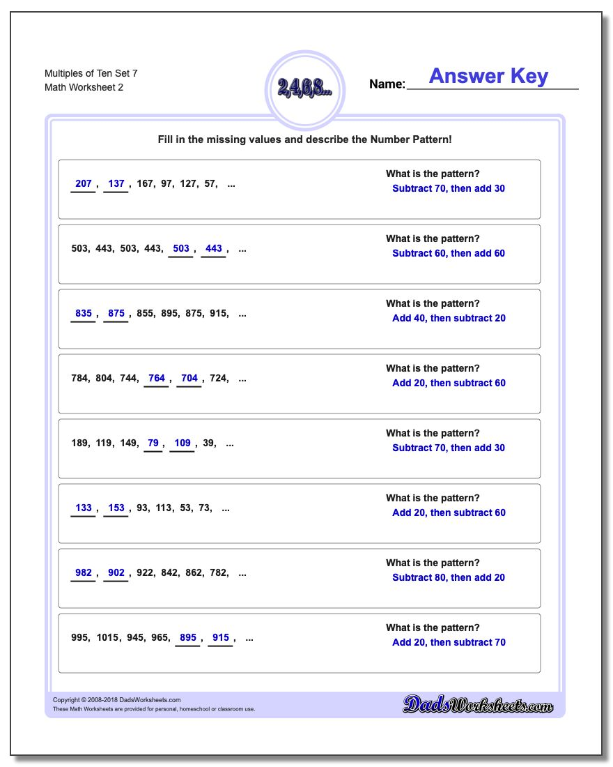 Multiples of Ten Set 7 www.dadsworksheets.com/worksheets/number-patterns.html Worksheet