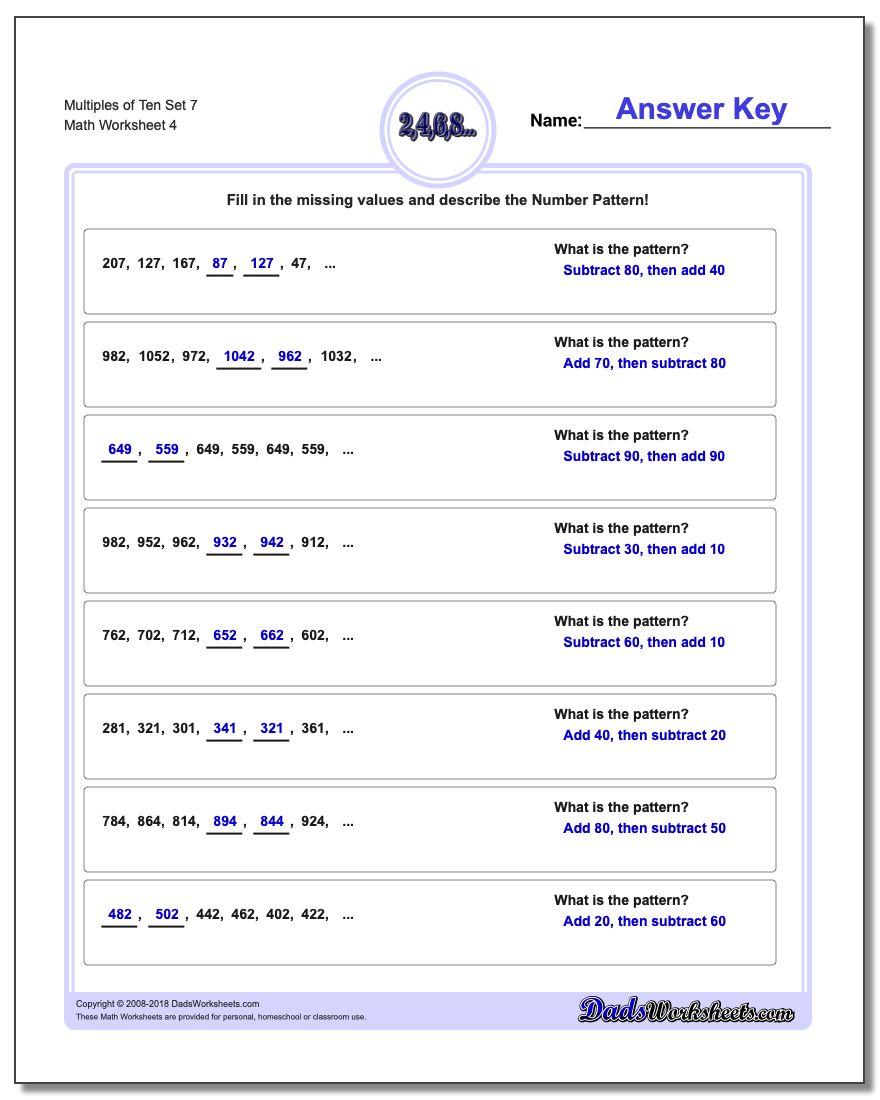 Multiples of Ten Set 7 Worksheet