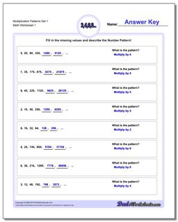 Number Patterns Multiplication Worksheet