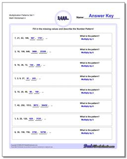 Multiplication Worksheet Patterns Set 1