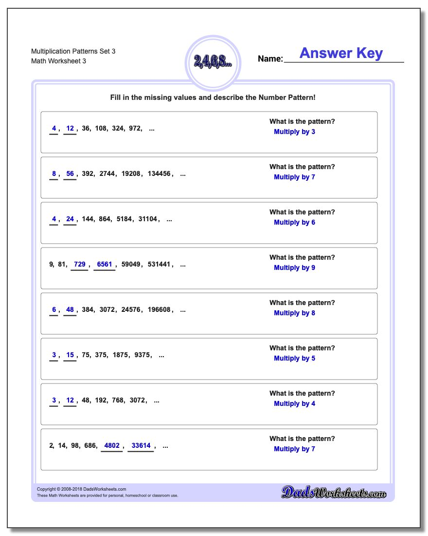 Multiplication Worksheet Patterns Set 3