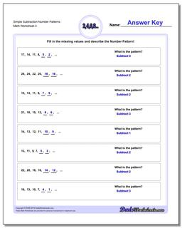 Simple Subtraction Worksheet Number Patterns