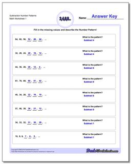Subtraction Worksheet Number Patterns #Number #Patterns #Worksheet