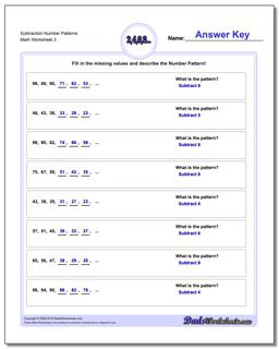 Subtraction Worksheet Number Patterns
