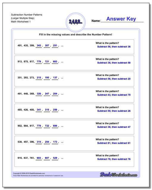 Number Patterns Subtraction Worksheets (Larger Multiple Step)