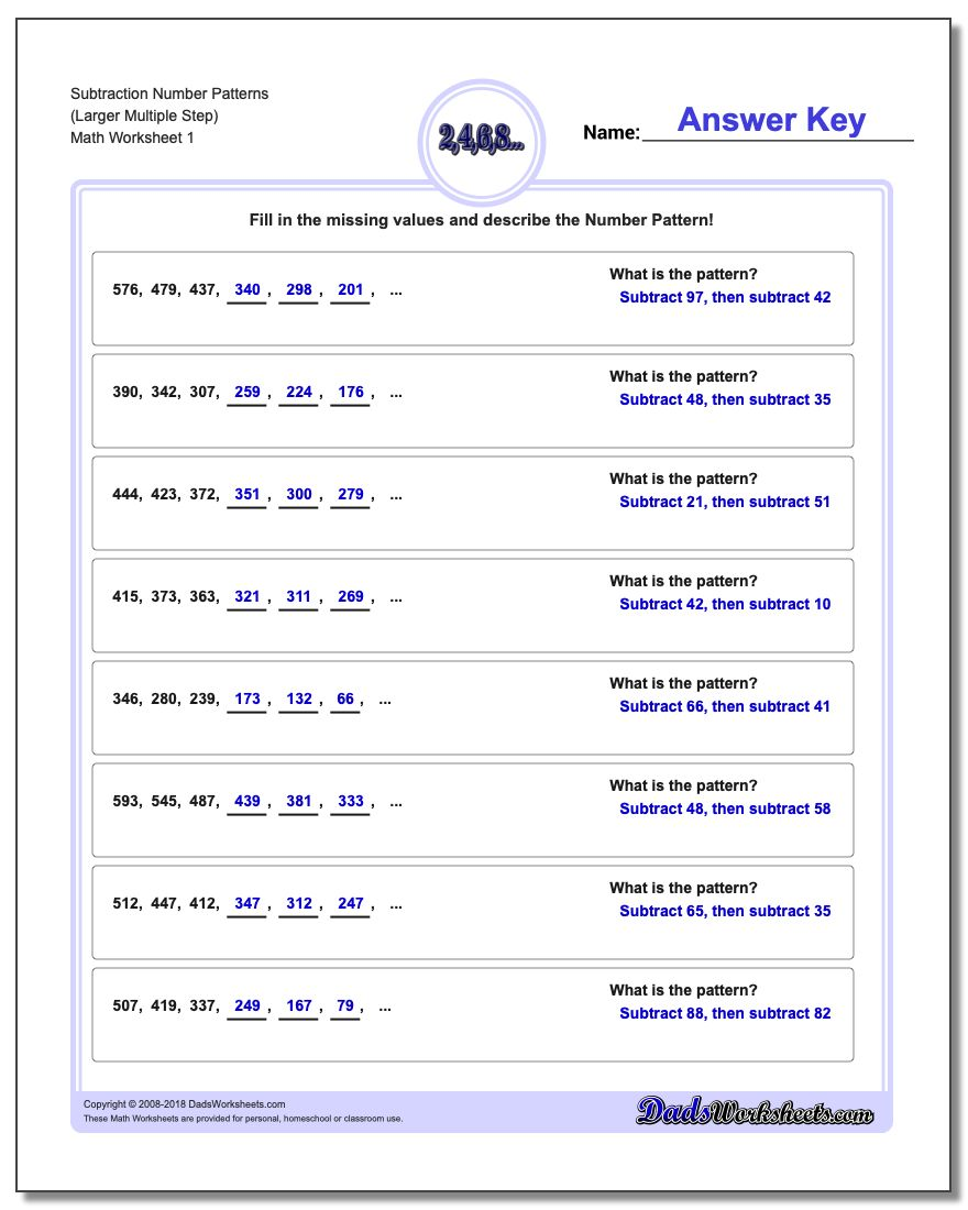 Number Patterns Subtraction Worksheet (Larger Multiple Step)