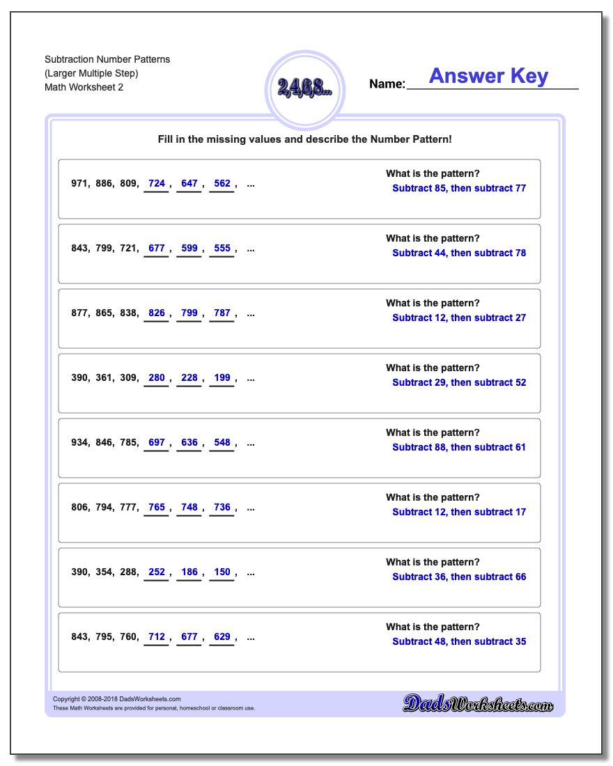 Subtraction Worksheet Number Patterns (Larger Multiple Step) www.dadsworksheets.com/worksheets/number-patterns.html