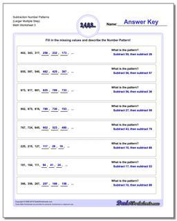 Subtraction Worksheet Number Patterns (Larger Multiple Step) #Number #Patterns #Worksheet