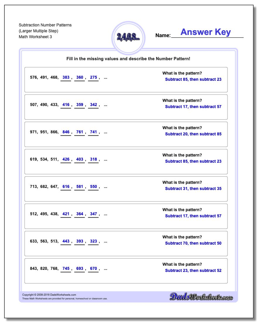 Subtraction Worksheet Number Patterns (Larger Multiple Step)